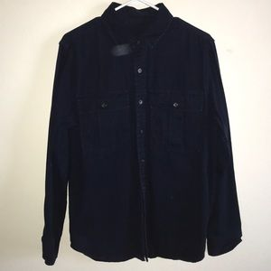 NAVY BUTTON UP